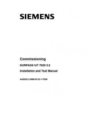 Surpass Hit 7020 Installation And Test Manual 3p2