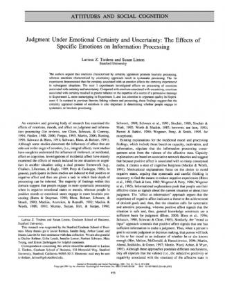 Judgment Under Emotional Certainty And Uncertainty- The Effects Of Specific Emotions On Information Processing