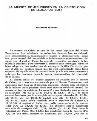 La Muerte De Jesucristo En La Cristología De Leonardo Boff. Armando Bandera