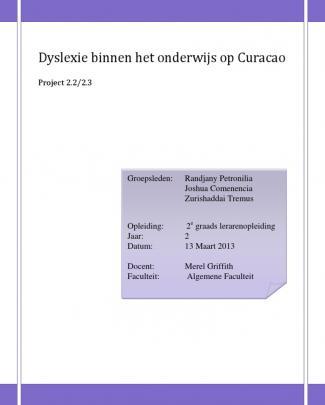 Dyslexie Binnen Het Onderwijs Op Curacao (1)