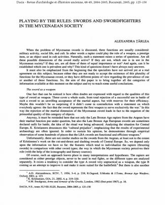 Playing By The Rules: Swords And Swordfighters In The Mycenaean Society, Alexandra Tarlea