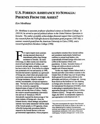 U.s. Foreign Assistance To Somalia- Phoenix From The Ashes