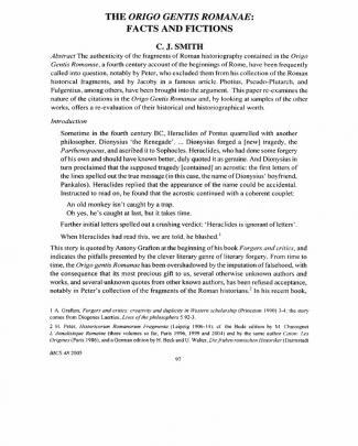 C. J. Smith - The Origo Gentis Romanae. Facts And Fictions