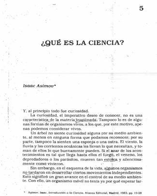 Asimov, Isaac Qué Es La Ciencia