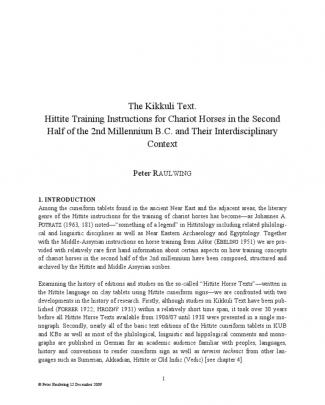Peter Raulwing The Kikkuli Text Master File Dec 2009