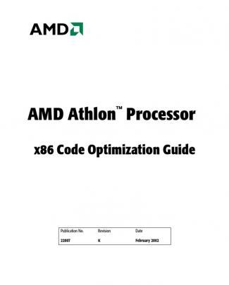 Amd Athlon Processor X86 Code Optimization Guide (updated 02