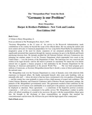 Morgenthau, Henry - Germany Is Our Problem (en, 1945, 120 S., Text)
