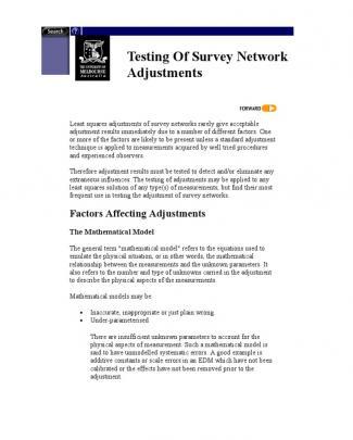 Testing Of Survey Network Adjustments