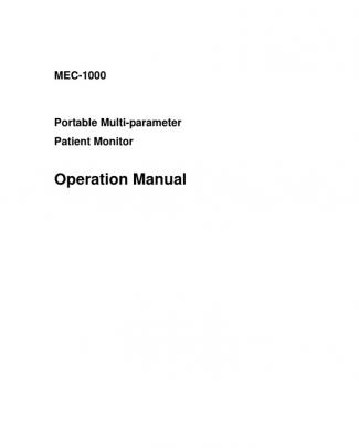 Operation Manual For Mec1000 H22302-13