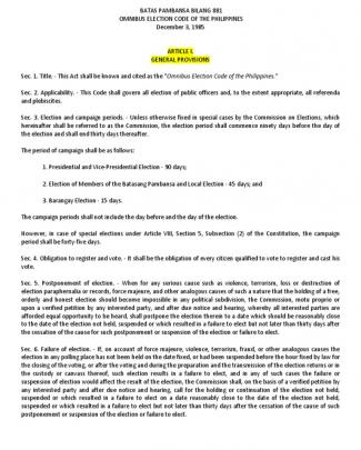 Omnibus Election Code Of The Philippines Batas Pambansa Bilang 881