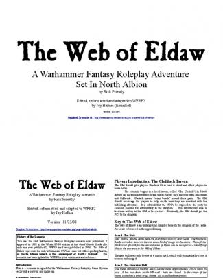 Warhammer Rpg 1st Edition Web Of Eldaw
