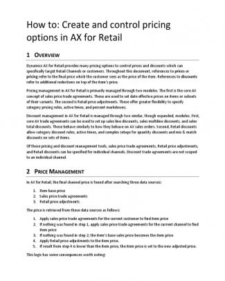 How To Configure Pricing Options For Ax For Retail