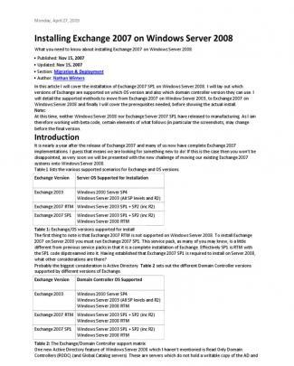 Install Exchange 2007 On Windows Server 2008