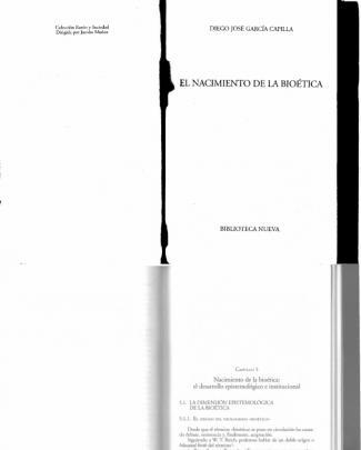 El Nacimiento De La Bioetica (diego J. Garcia Capilla)