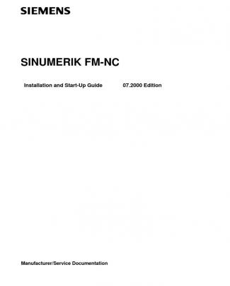 Sinumerik Fm-nc Installation And Start-up Guide 07-00