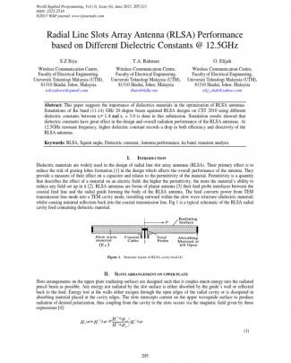 Radial Line Slots Array Antenna (rlsa) Performance Based On Different Dielectric Constants @ 12.5ghz