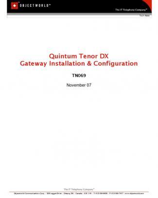 Tn069 - Quintum Tenor Dx Installation And Configuration