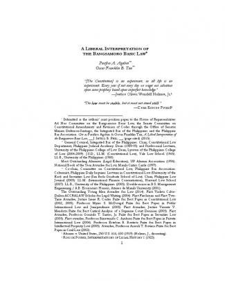 Pacifico Agabin & Oscar Franklin Tan - A Liberal Interpretation Of The Bangsamoro Basic Law (2015)