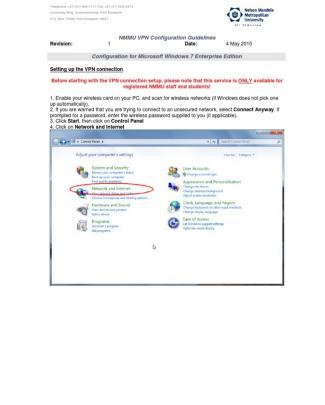 Nmmu Vpn Configuration Guidelines - Windows 7 Enterprise