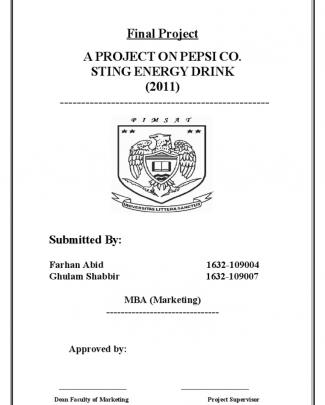A Project On Pepsi Co. Sting Energy Drink
