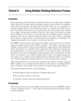 Moving Reference Frame Tutorial Fluent