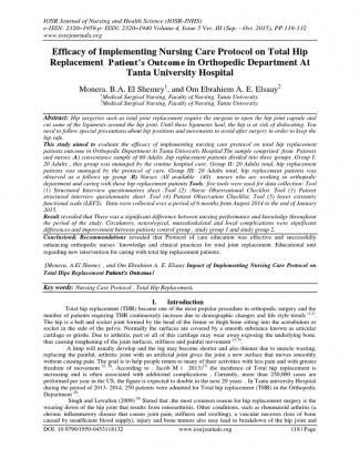 Efficacy Of Implementing Nursing Care Protocol On Total Hip Replacement Patient's Outcome In Orthopedic Department At Tanta University Hospital