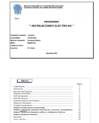 Programa Instalac. Electricas