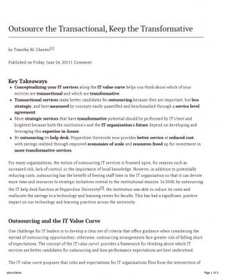 Outsource The Transactional, Keep The Transformative