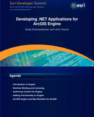 Developing .net Applications For Arcgis Engine