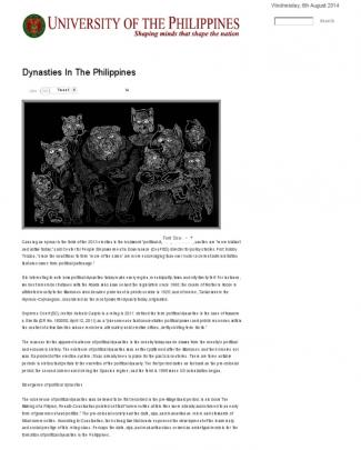 'it Runs In The Family' The Making Of Political Dynasties In The Philippines _ University Of The Philippines System Website
