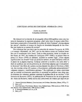 (alazraki, Jaime) Cortázar Antes De Cortázar, «rimbaud» (1941)
