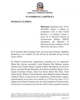 Sentencia Tc 0305 14, Sobre Conflicto Competencial
