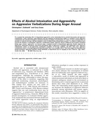 Effects Of Alcohol Intoxication And Aggressivity On Aggression Verbalizations During Anger Arousal