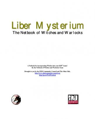 D20 D&d Class Book Liber Mysterium, Book Of Witches And Warlocks