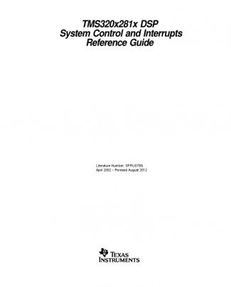 Tms320x281x Dsp  System Control And Interrupts  Reference Guide