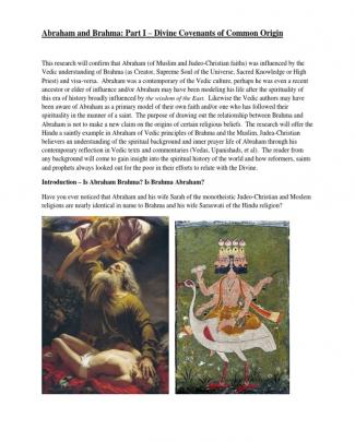 Brahma And Abraham: Part I - Divine Covenants Of Common Origin