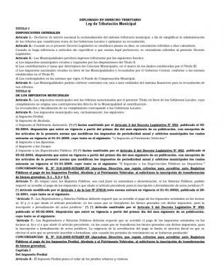 Ley De Tributacion Municipal Peru