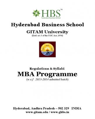 Hbs - Mba Regulations & Syllabi 13-15 (for Approval Of Academic Council)