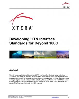 Developing Otn Interface Standards For Beyond 100g
