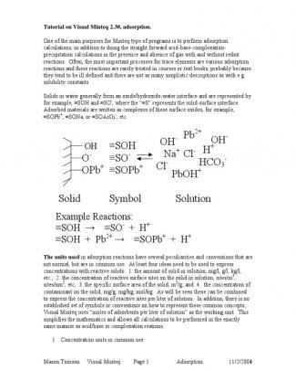Tutorial On Visual Minteq 2.30 Adsorption