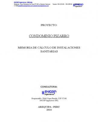 Memoria De Calculo Instalaciones Sanitarias Pizarro