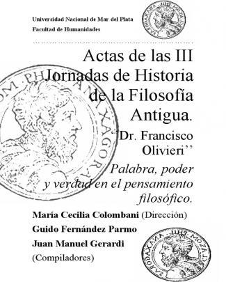 Actas De Las Iii Jornadas De Historia De La Filosofía Antigua