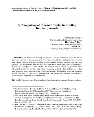 A Comparison Of Research Topics In Leading Tourism Journals