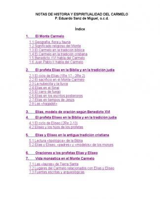 Notas De Historia Y Espiritualidad Del Carmelo
