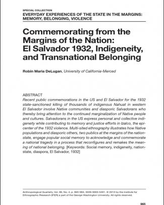 Commemorating From The Margins Of The Nation: El Salvador 1932, Indigeneity And Transnational Belonging