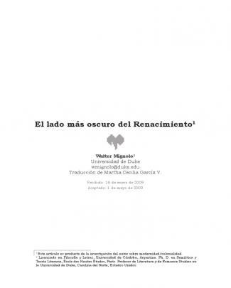 Walter Mignolo- El Lado Más Oscuro Del Renacimiento
