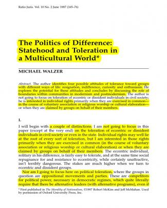 Statehood And Toleration By Michael Walzer