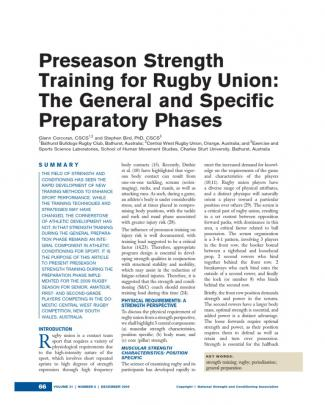 Preseason Strength Training For Rugby Union- The General And Specific Preparatory Phases
