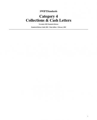 Swift Standards Category 4 Collections Cash Letters