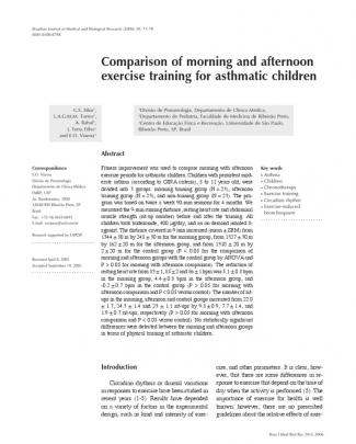 Comparison Of Morning And Afternoon Exercise Training For Asthmatic Children